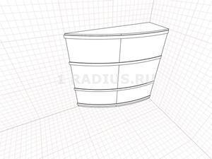 Угловой шкаф-купе асимметричный выгнутый