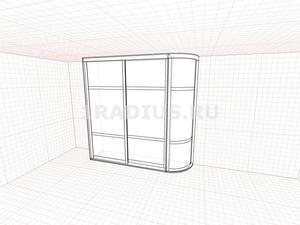 Угловой шкаф купе прямой с распашной дверью