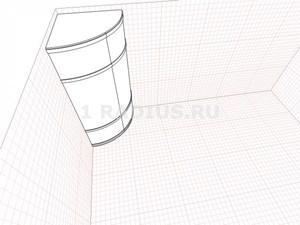 Выпуклый симметричный радиальный шкаф купе