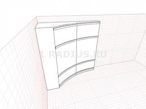 Вогнутый ассиметричный радиальный шкаф купе