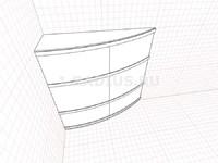 Выпуклый ассиметричный радиальный шкаф купе
