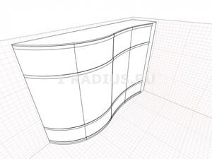 Комбинированный радиусный вогнуто-выпуклый продольный шкаф купе