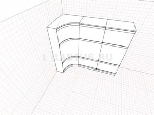 Комбинированный вогнутый продольный шкаф купе