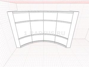 Комбинированный типовой с вогнутыми дверями шкаф купе